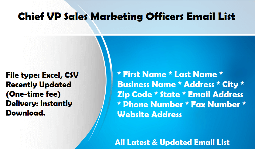 Chief VP Sales Marketing Officers Email List