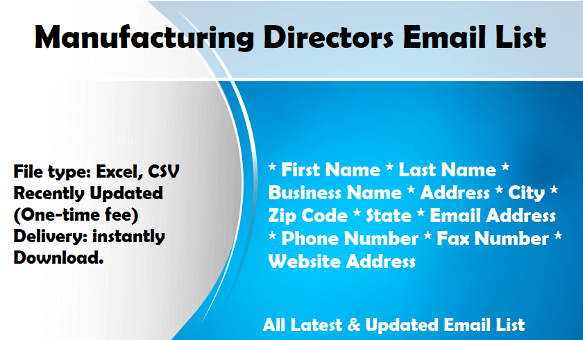 Manufacturing Directors Email List