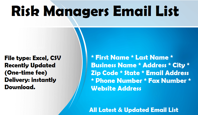 Risk Managers Email List