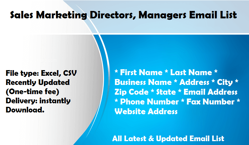 Sales Marketing Directors, Managers Email List