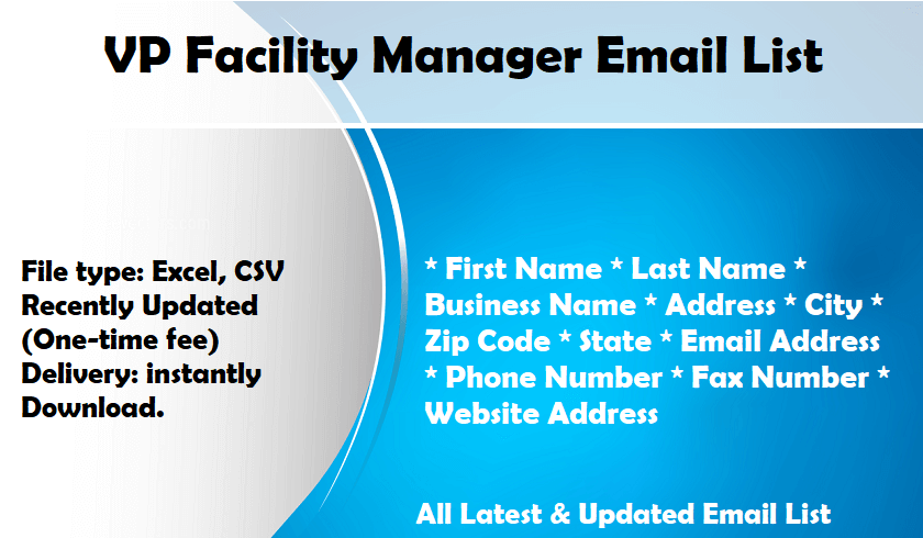 VP Facility Manager Email List