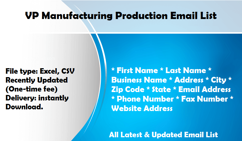 VP Manufacturing Production Email List