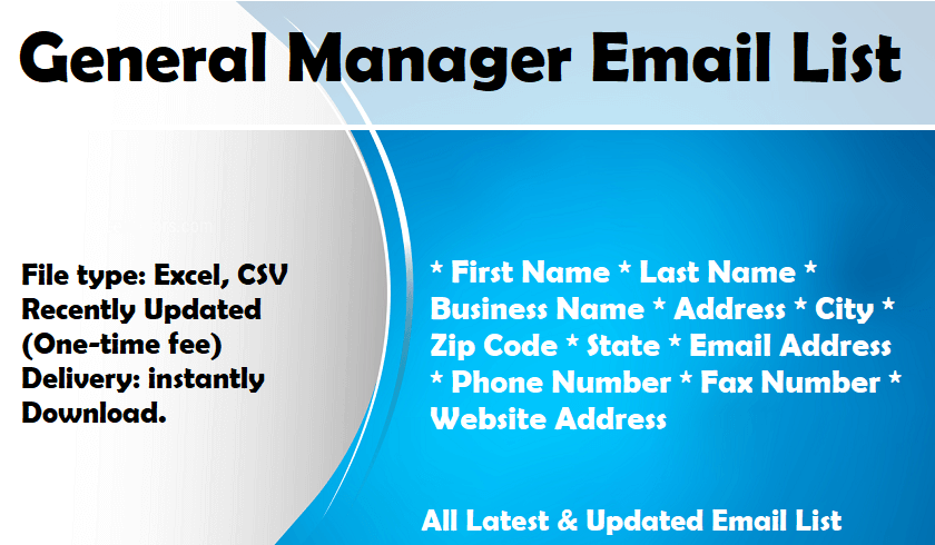 General Manager Email List