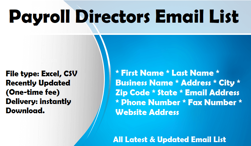 Payroll Directors Email List