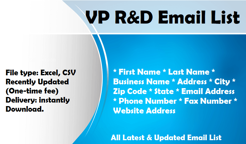 VP R&D Email List